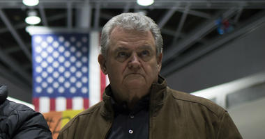 Rep. Bob Brady, D-Phila., is shown at Philadelphia International Airport addressing protesters in January 2017.