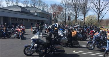 Motorcyclists getting ready for the benefit ride organized by Middletown Township Police.