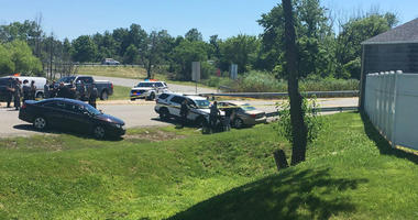 A Pennsylvania State Police was involved in an apparent high-speed chase and shooting on I-95 that ended at the Highland Avenue ramp in Chester on Tuesday afternoon with an arrest.