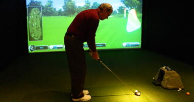 A golf simulator at Linfield National Golf Club.