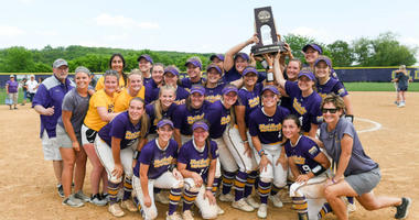 West Chester University celebrates winning the Atlantic Regional of the NCAA Division II Softball Tournament.