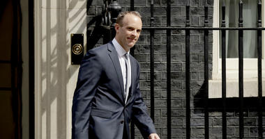 Britain's new Secretary of State for Exiting the European Union Dominic Raab leaves 10 Downing Street after it was announced he was appointed to the job in London, Monday, July 9, 2018.