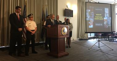 District Attorney Larry Krasner explains the results of a nine-month-long investigation that linked 57 people to a major drug organization they say was suffocating a large chunk of the Kensington neighborhood.