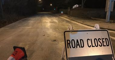 Bells Mill Road in Chestnut Hill is closed as crews work on a water main break.