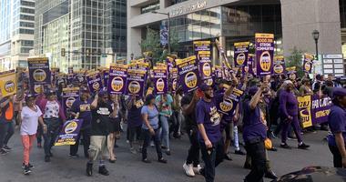 32BJ SEIU service workers rally