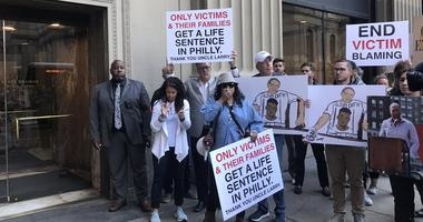 Families of murder victims upset with Philadelphia District Attorney Larry Krasner's increase in plea deals rallied in front of his office earlier Tuesday to show their anger with his prosecution policies.