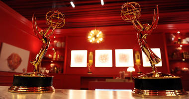 In this Sept. 13, 2018 file photo, Emmy Award statuettes are displayed inside the Lindt Chocolate Lounge inside the Microsoft Theatre in Los Angeles. The 70th Emmy Awards will be held on Monday.