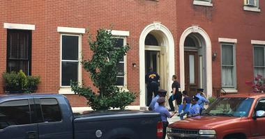 A body was found wrapped in plastic in a second-floor bedroom of this residence in Philadelphia's Fairmount neighborhood.
