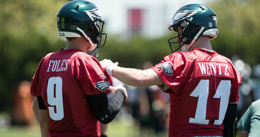 The Philadelphia Eagles' Nick Foles and Carson Wentz are shown at training camp.