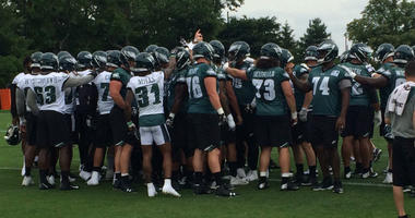 Eagles players at an OTA practice