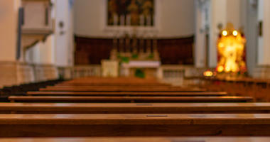 Church benches in the Catholic Church.