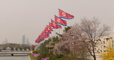 The North Korean flags on flagpoles, in Pyongyang, Democratic People's Republic of Korea