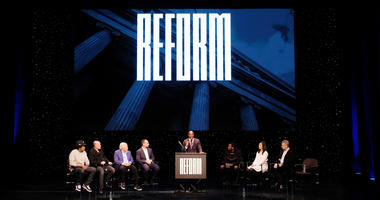 "Shawn ""Jay-Z"" Carter, Michael Novogratz, Robert Kraft, Michael Rubin, Van Jones, Meek Mill, Clara Wu Tsai, Dan Loeb speak onstage during the launch of The Reform Alliance at John Jay College on Jan. 23, 2019 in New York City."