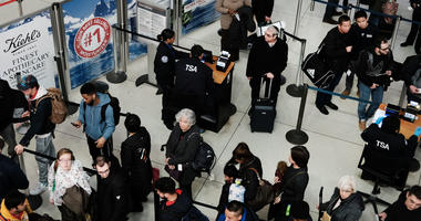 Passengers wait in a Transportation Security Administration line at JFK airport on Jan. 9, 2019 in New York City.