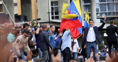 Venezuelan opposition leader and head of the National Assembly Juan Guaido declares self interim president as thousands of people protest against Nicolás Maduro on January 23, 2019 in Caracas, Venezuela.