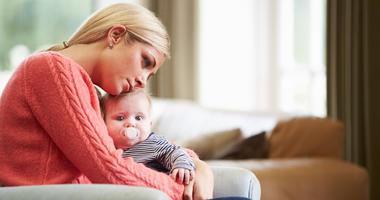 Mom suffering from postpartum depression.