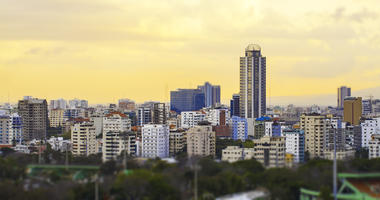 Sunset cityscape of Santo Domingo, Dominican Republic - stock photo
