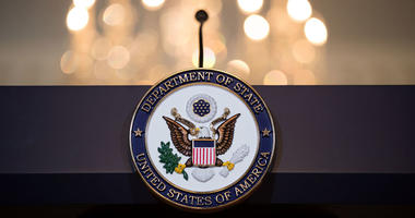 WASHINGTON, DC - JUNE 09: A view of the State Department seal on the podium before Romanian President Klaus Iohannis and U.S. Secretary of State Rex Tillerson appear for a photo opportunity at the State Department, June 9, 2017 in Washington, DC.