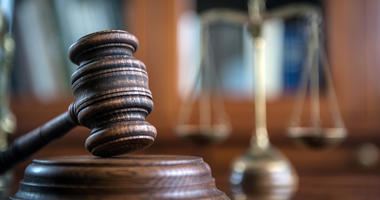 Law and Justice concept. Mallet of the judge, books, scales of justice. - stock photo