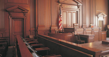 Interior of courtroom - stock photo