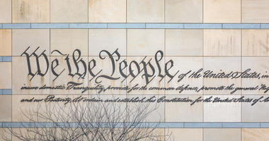 We the People engraved in the facade of the National Constitution Center in Philadelphia, PA