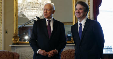 Supreme Court nominee Brett Kavanaugh, right, meets with Sen. Orrin Hatch, R-Utah, on Capitol Hill, Wednesday, July 11, 2018, in Washington.
