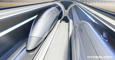 A photo of Hyperloop Transportation Technologies' system front view.