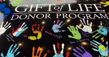 Handprints on NASCAR driver Joey Gase's car as part of Gift of Life program.