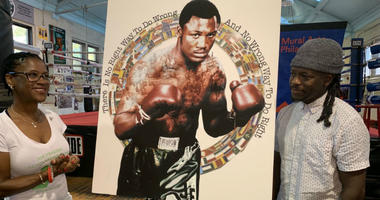 Mural Arts Philadelphia unveiled plans and a first look at the latest work of art, which will honor legendary boxer and Philadelphian Smokin' Joe Frazier at an infamous spot boxing historians will definitely appreciate.