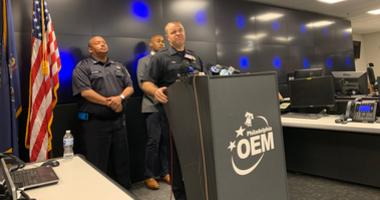 Fire Commissioner Adam Thiel delivers a briefing on the state of affairs at the site of the Philadelphia Energy Solutions refinery explosion.