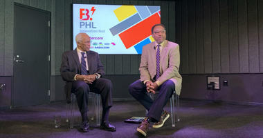 Astronaut Guy Bluford (L) and astronomer Derrick Pitts speaking at a B.PHL event.