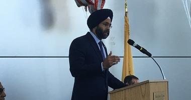 New Jersey Attorney General Gurbir Grewal, the son of immigrant parents, spoke during a Law Day event.