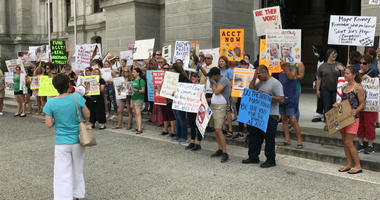 A few dozen demonstrators gathered in front of City Hall Wednesday to protest the conditions and lack of staff and funding at ACCT.