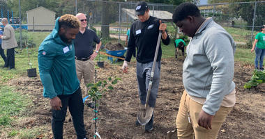 Eagles players join Martin Luther King High School students for Farm Club.