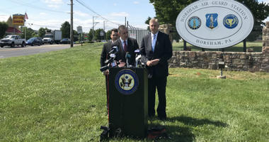 From left: Rep. Brendan Boyle, state Rep. Brian Fitzpatrick and state Rep. Todd Stephens during a press conference
