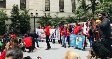 A troop of women in red took over the City Hall courtyard Tuesday afternoon to rally for an end to Philadelphia's cash bail system, and for some, it was a day of celebration.