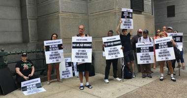 About 30 protesters from the AIDS advocacy group ACT UP talked about the need for safe injection sites to prevent overdoses during the current opioid epidemic.