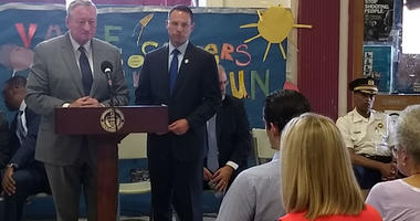 From left: Mayor Jim Kenney, Pennsylvania Attorney General Josh Shapiro and Police Commissioner Richard Ross discuss joining forces to put an end to gun violence.