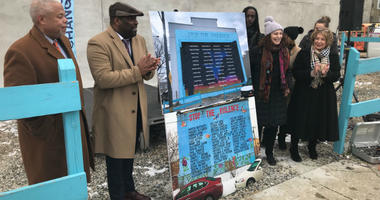 An anti-violence mural that was mistakenly destroyed by developers in South Philadelphia last summer is now being replaced. The new design was unveiled Thursday afternoon.