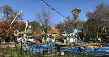 Crews have begun to set up for the Electrical Spectable Holiday Light Show at Franklin Square.