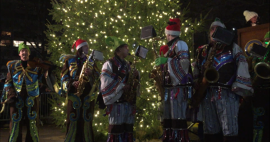 Rittenhouse Square is alive with Christmas cheer after hundreds of people showed up Tuesday night to watch the tree lighting ceremony.