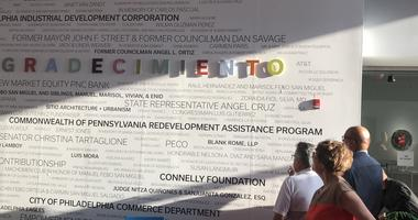 On Wednesday, officials at the Taller Puertorriqueño community center celebrated a major milestone — reaching $11.5 million in a capital campaign — by unveiling a naming wall.