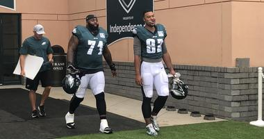 The Eagles practiced in pads for the first time this summer.