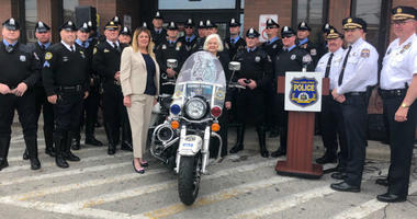 The Philadelphia Highway Patrol unit received a motorcycle in memory of Thomas Gibbons Jr.