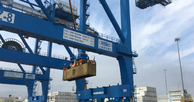 """The super-post-Panamax cranes at PhilaPort are described as a """"game-changer."""""""