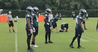 Eagles practice at an OTA practice.