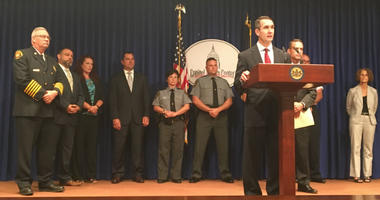 Pennsylvania Auditor General Eugene DePasquale discusses the school safety report at a Monday press conference in the Pennsylvania Capitol.