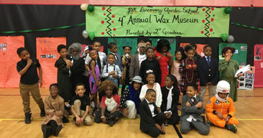 """Students at a Philadelphia elementary school celebrate Black History Month with the creation of a so-called """"living wax museum."""""""
