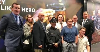 Bridgeport Borough police officer Shannon Sell and her family.