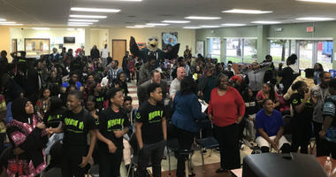 Reps from the Eagles visited Imhotep Institute Charter High School in Philadelphia to introduce students to Braskem's digital platform, which lets kids explore a future with the STEM courses.